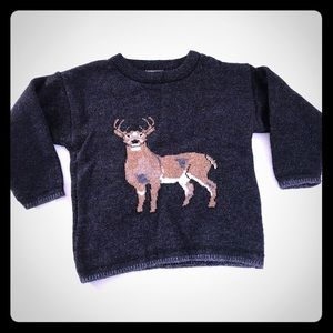 5/$20 Plaid Moose Kids Deer Sweater 4 5 6 Gray